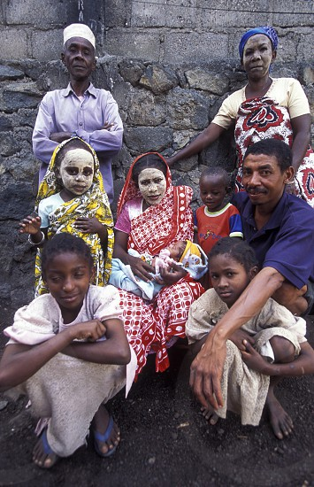 a family in the city of Moutsamudu on the Island of Anjouan on the Comoros Ilands in the Indian Ocean in Africa.    photo