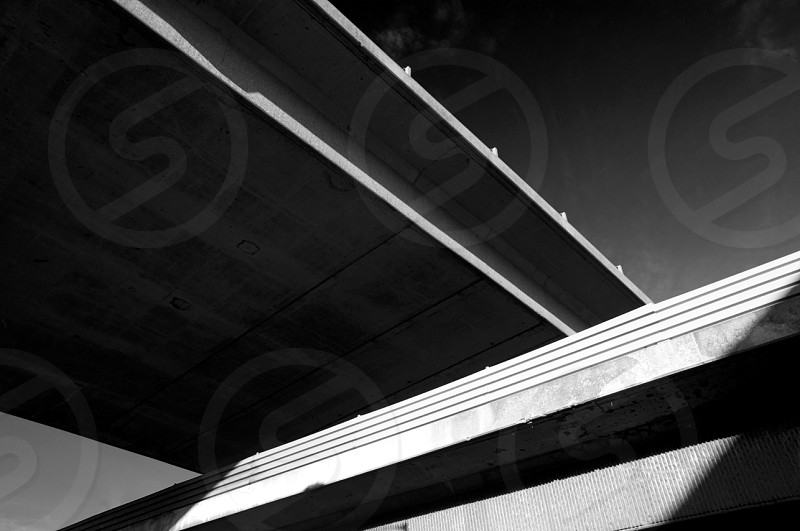 london M25 north circular over pass black and white architecture photo