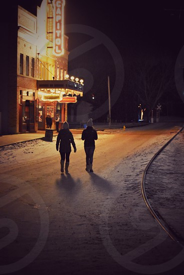 Winter walk fort edmonton retro  photo