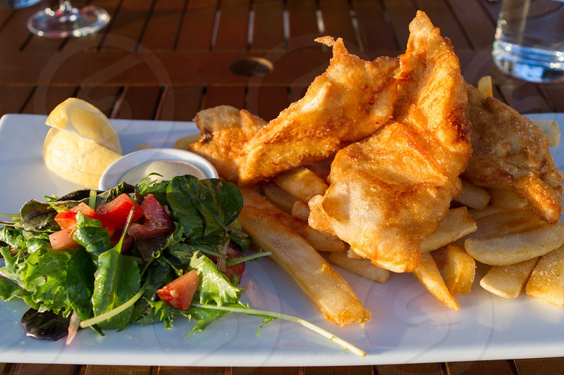 Fish n chips at The Gables restaurant in Russell New Zealand.  Exterior and view shots available of The Gables. photo