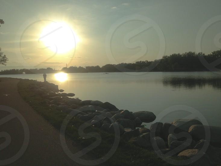 Henderson lake park  walking sunset fisherman photo