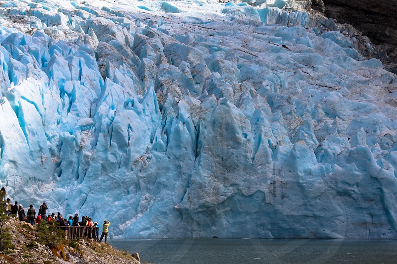 Visitors at the Serrano Glacier Bernardo O'Higgins National Park Patagonia Chile. photo