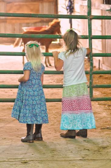 Portrait pony girls barn boots dress gate dreams portrait no face photo