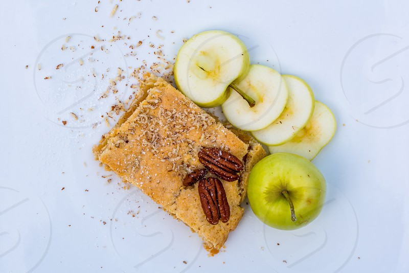 Sweet cake with apples and nuts. photo