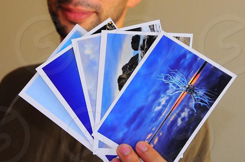 blue sky postcard photo