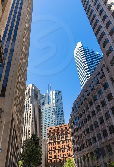 San Francisco downtown buildings in California USA photo
