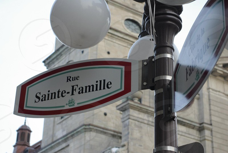 Street sign in Quebec.  photo