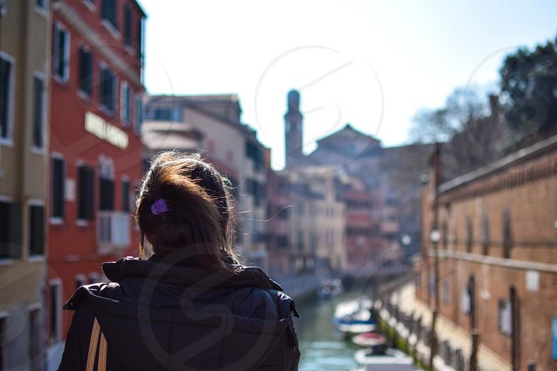 Girl tourist in Venice photo