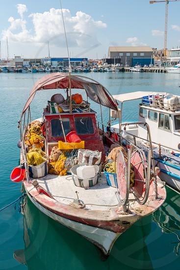 Fishing boat in port Cyprus Limassol photo