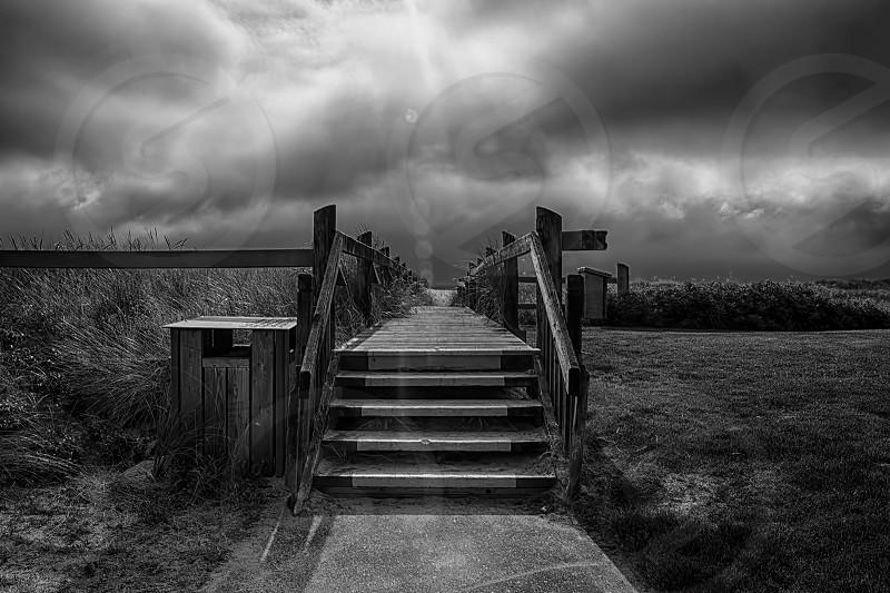 wooden walkway next to grassy field photo