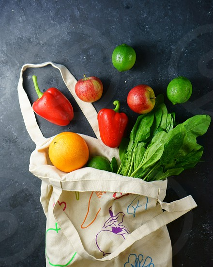 Shopping bag content vegetables many photo