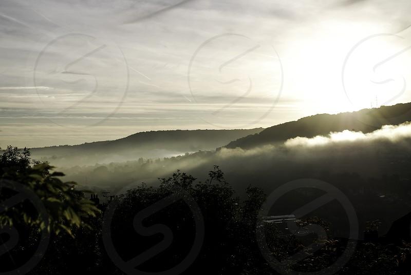 Landscape scene in early morning sunlight. photo