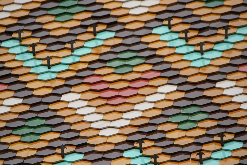 multi color hexagon shaped roof photo