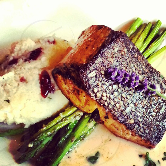 pan seared fish with skin on with asparagus sauce and polenta. photo