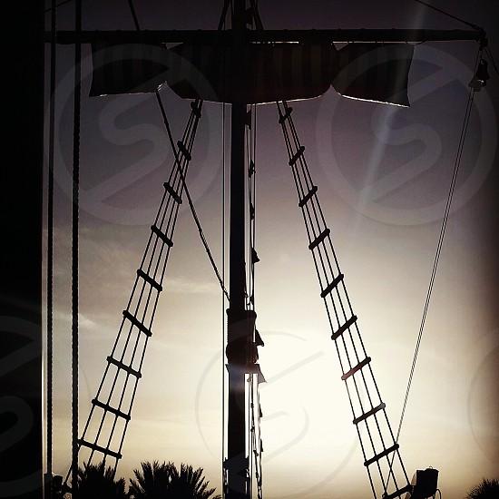 Ropes on a sunset cruise photo