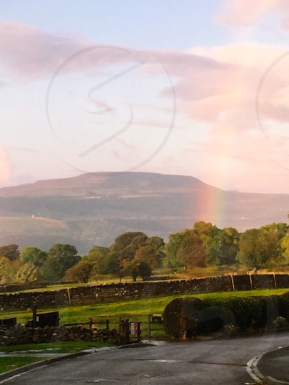 Rainbow over Penhill Wensleydale  photo