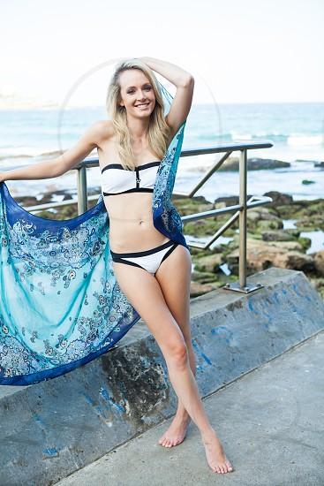 Beautiful Blonde Model Wearing Seafolly Bikini At Bondi Beach In Summer By Samantha Macabulos Photo Stock Snapwire