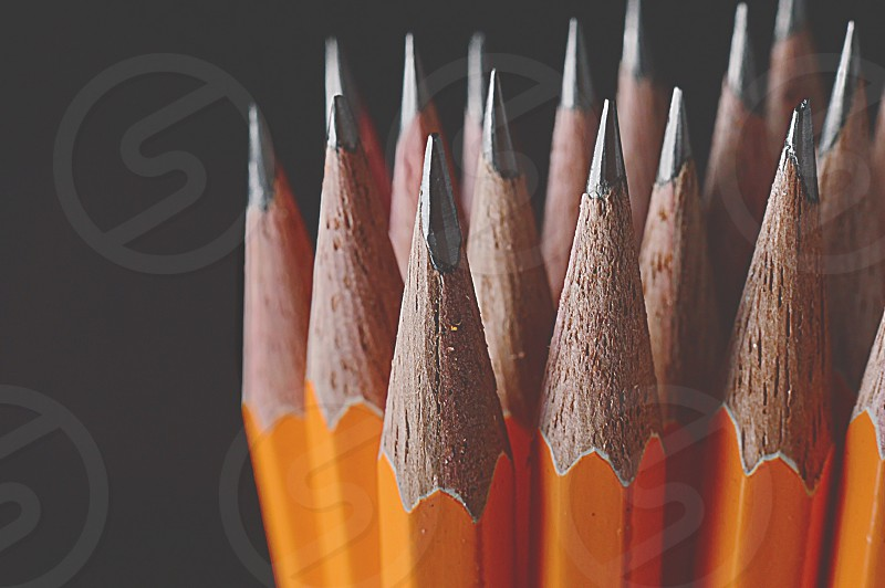Vibrant  yellow colorful pointy pencil sharpened writing school lead  photo