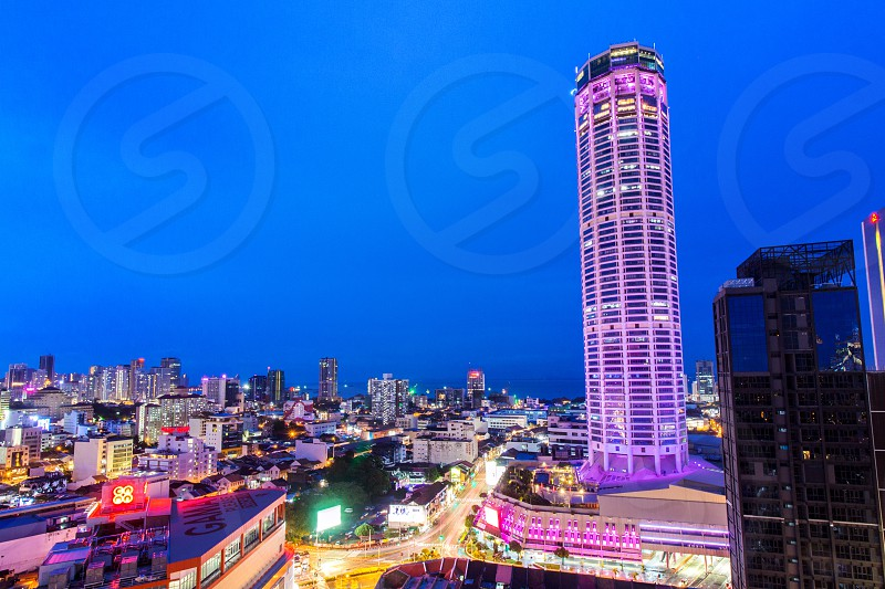 the skyline of Georgetown Penang Malaysia in blue hours photo