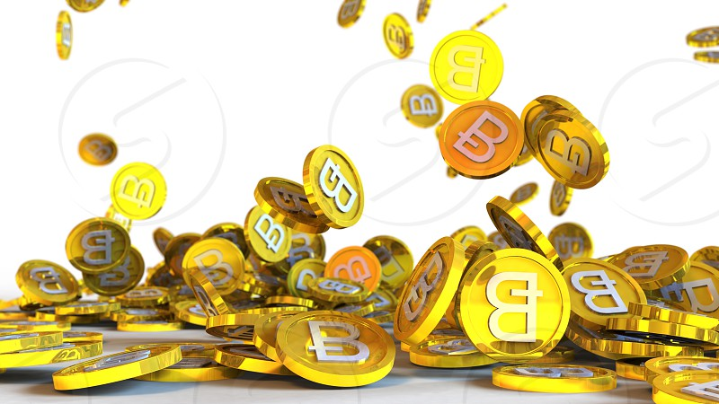 3D illustration of bitcoin coins falling on a white background photo