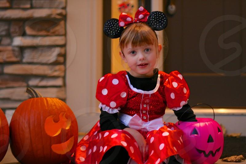 kids costumes Halloween Minnie Mouse pumpkins photo