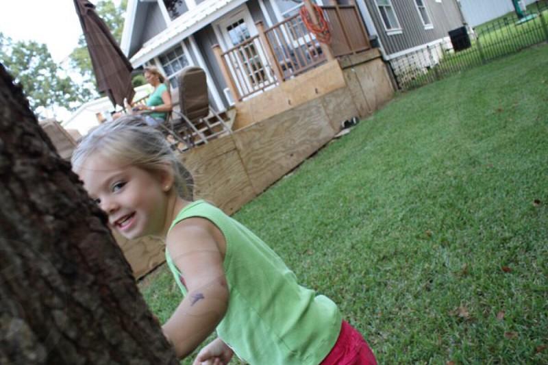 Kid playing. Kid running.  photo