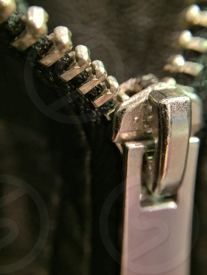 Close up detailed view of zipper photo