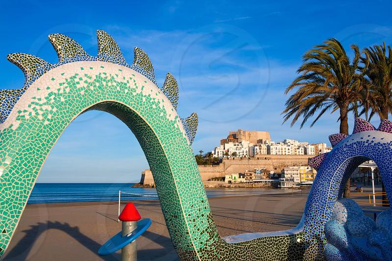 Peniscola Castle and beach in Castellon Valencian community of spain photo