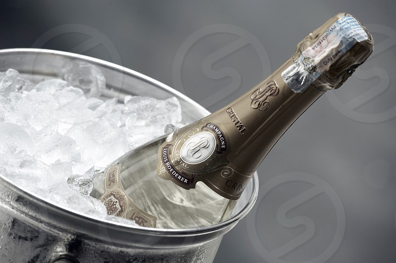 Close up of an expensive quality champagne bottle in an ice bucket photo