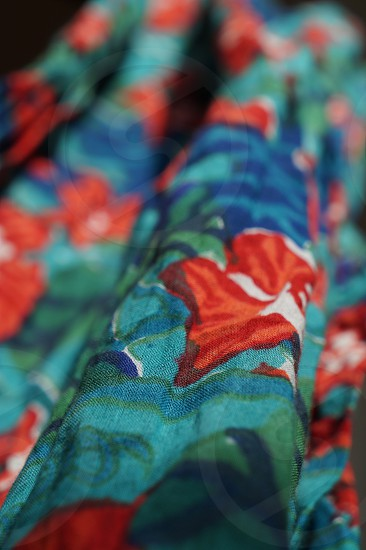 teal and red floral printed textile photo