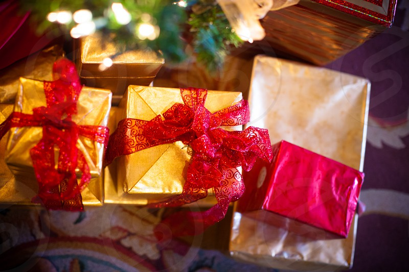 Gold and red Christmas presents photo