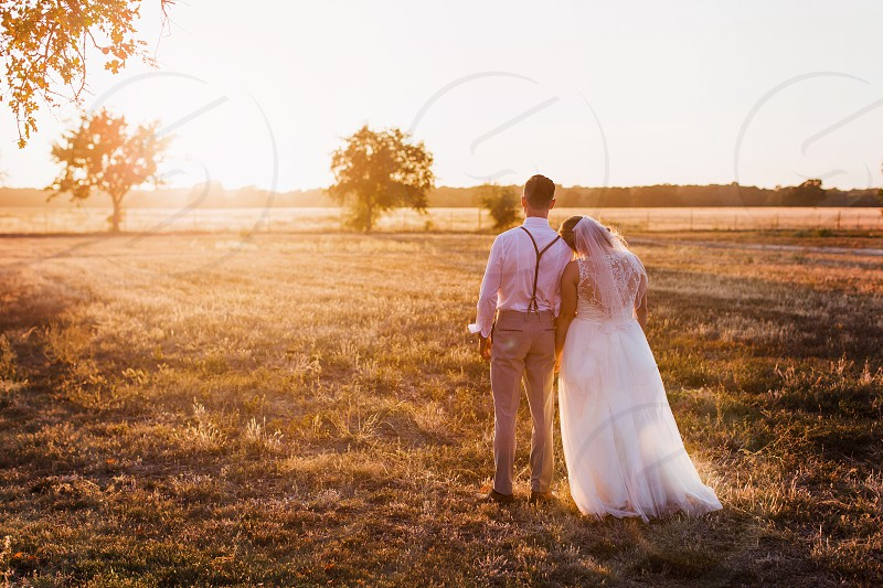 Love wedding landscape family hitched couple bride groom married  photo
