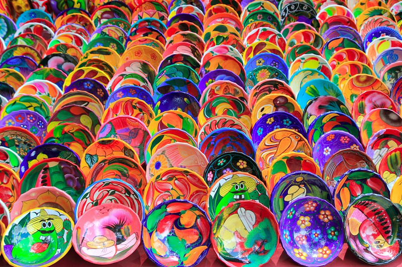 clay ceramic colorful plates from Mexico traditional handcrafts photo