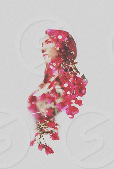 red floral head dress women's photo