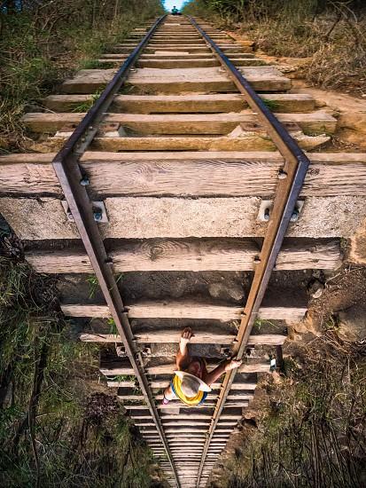Climbing up the railway. Railwayupside downcreativeclimbingadventurewanderlustwall photo