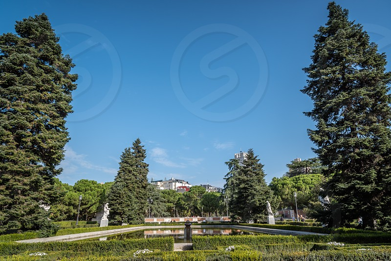 Sabatini Gardens and Royal Palace of Madrid. The Sabatini Gardens are part of the Royal Palace in Madrid Spain they honor the name of Francesco Sabatini an Italian architect of the 18th century who designed. photo
