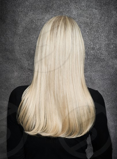 perfectly brushed long blonde hair photo