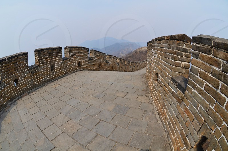 great wall of china during sunset photo