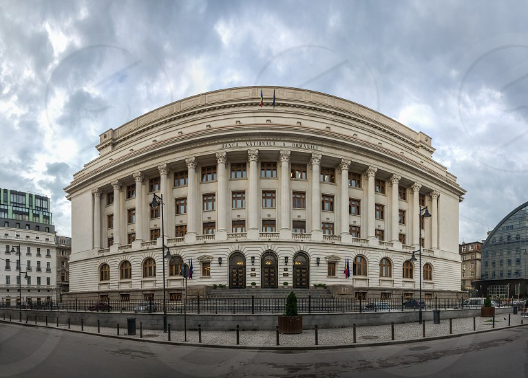 BUCHAREST ROMANIA - 07.20.2018. Panoramic view of National Bank Of Romania in Bucharest in a gloomy summer morning photo