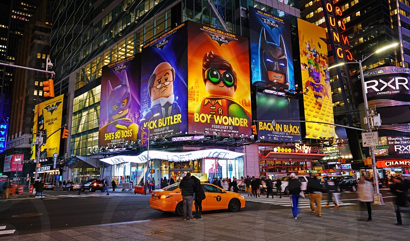 Night view of Times Square in New York City photo