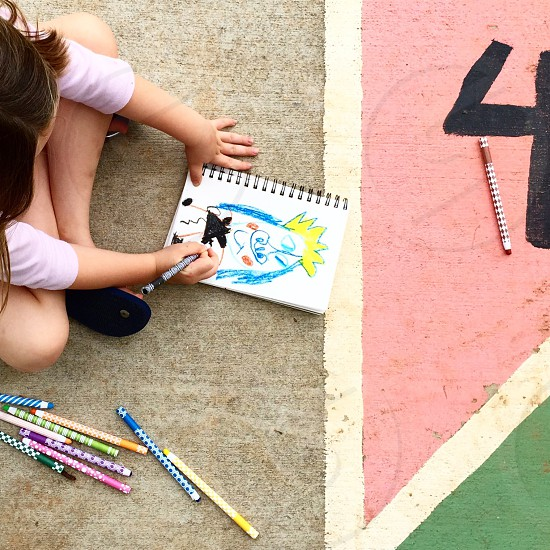 Kids art drawing fun play coloring create colored pencils girl creative  photo
