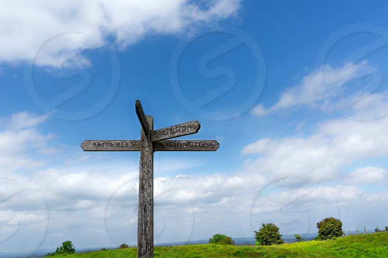 Sign signpost Sky green blue clouds summer photo