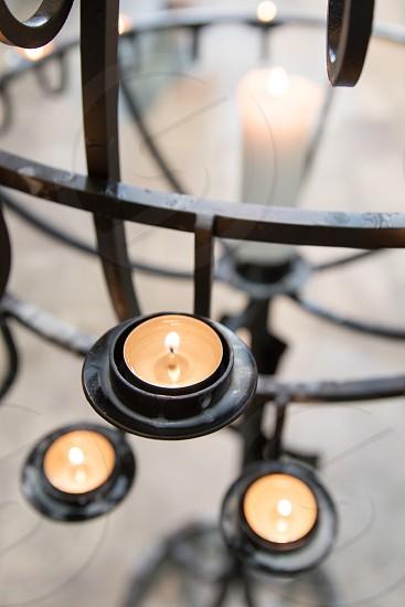 Prayer candles at a church photo