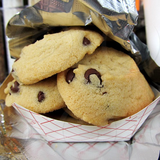 Chocolate chip cookies in paper basket photo