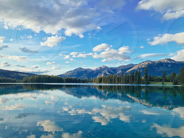 Alberta Beauvert Lake Jasper National Park Canada Landscape Nature Mountain Reflection Cloud Relax Peaceful photo