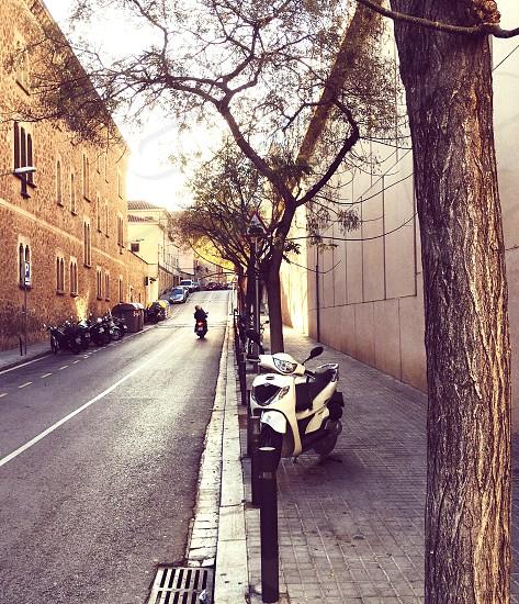 Quiet street in Barcelona Spain photo
