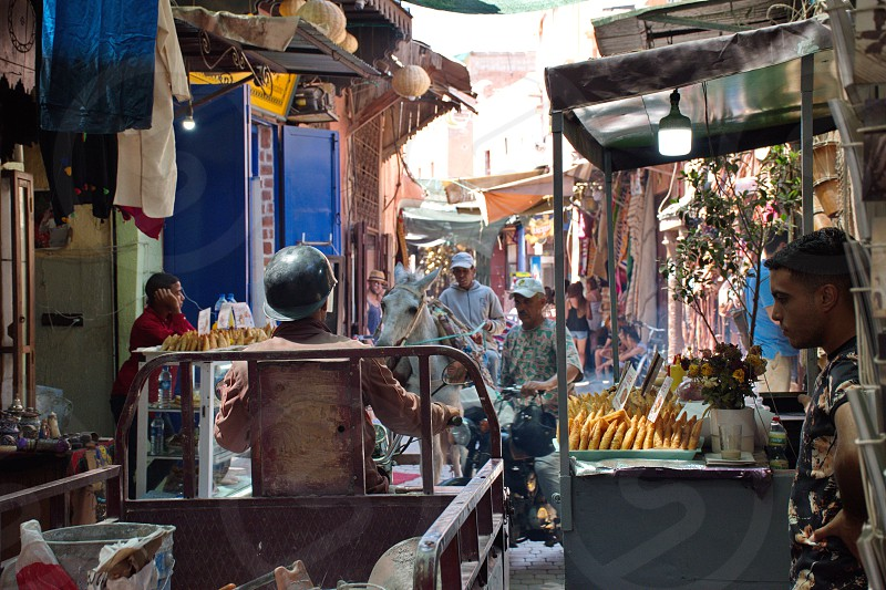 Crowded streets of Medina in Marrakesh photo