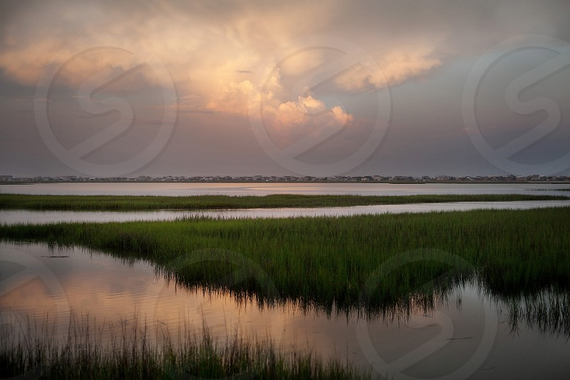 The marsh at sunset at Garden City Beach in South Carolina. photo