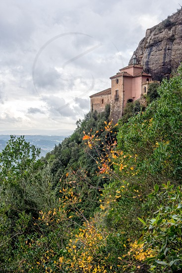 View of the Monastery to Santa Cova. Montserrat. Spain. photo