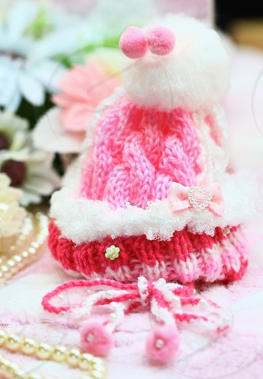 A pink knit Christmas dog hat! photo